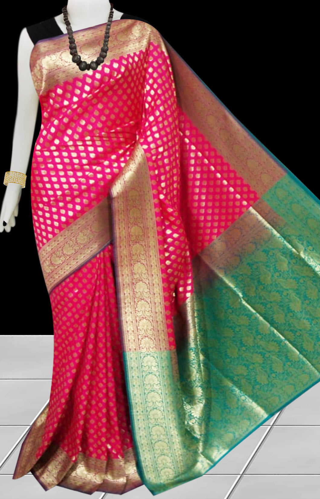 Bursana Rani color Opara Silk saree with green pallu