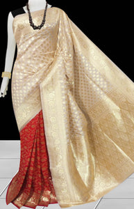 Bursana Red & beige color Opara Silk saree