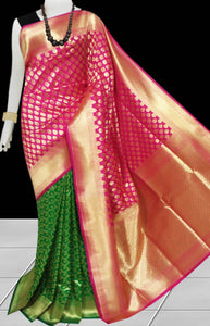 Bursana Green & Pink color Opara Silk saree
