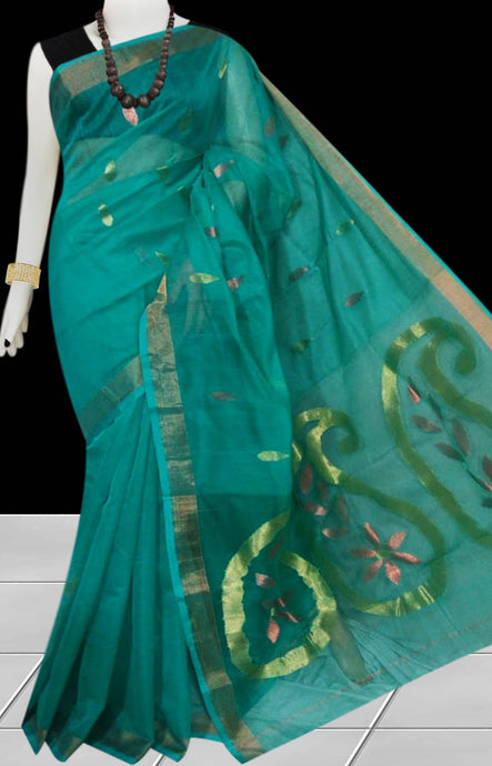 Dark Rama Green Silk  Handloom Jamdani Linen Saree