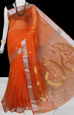 Orange Color Linen Saree