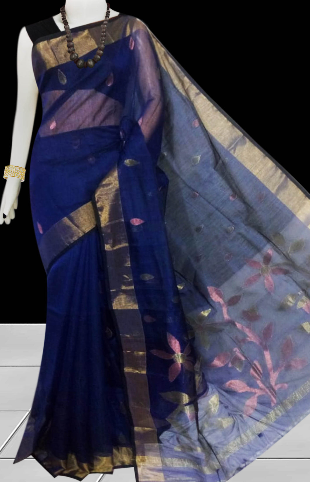 Navy Color Linen Saree