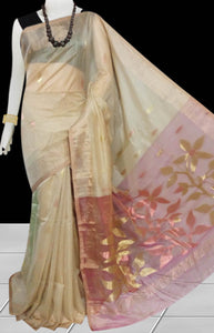 Royal Cream Color Jamdani Linen Saree