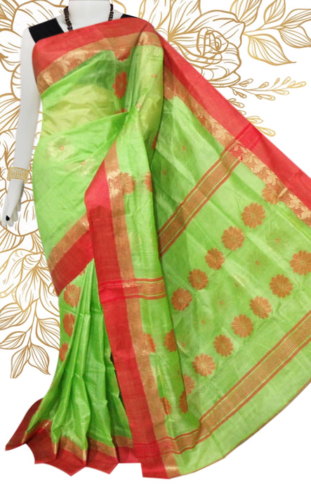 Lovely light green & red color semi tussar silk saree with tussar silk threaded