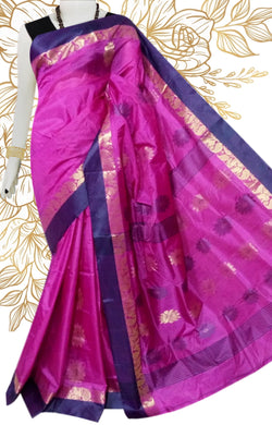 Lovely pink & blue color semi tussar silk saree with tussar silk threaded