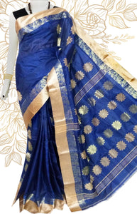Lovely blue & golden color semi tussar silk saree with tussar silk threaded