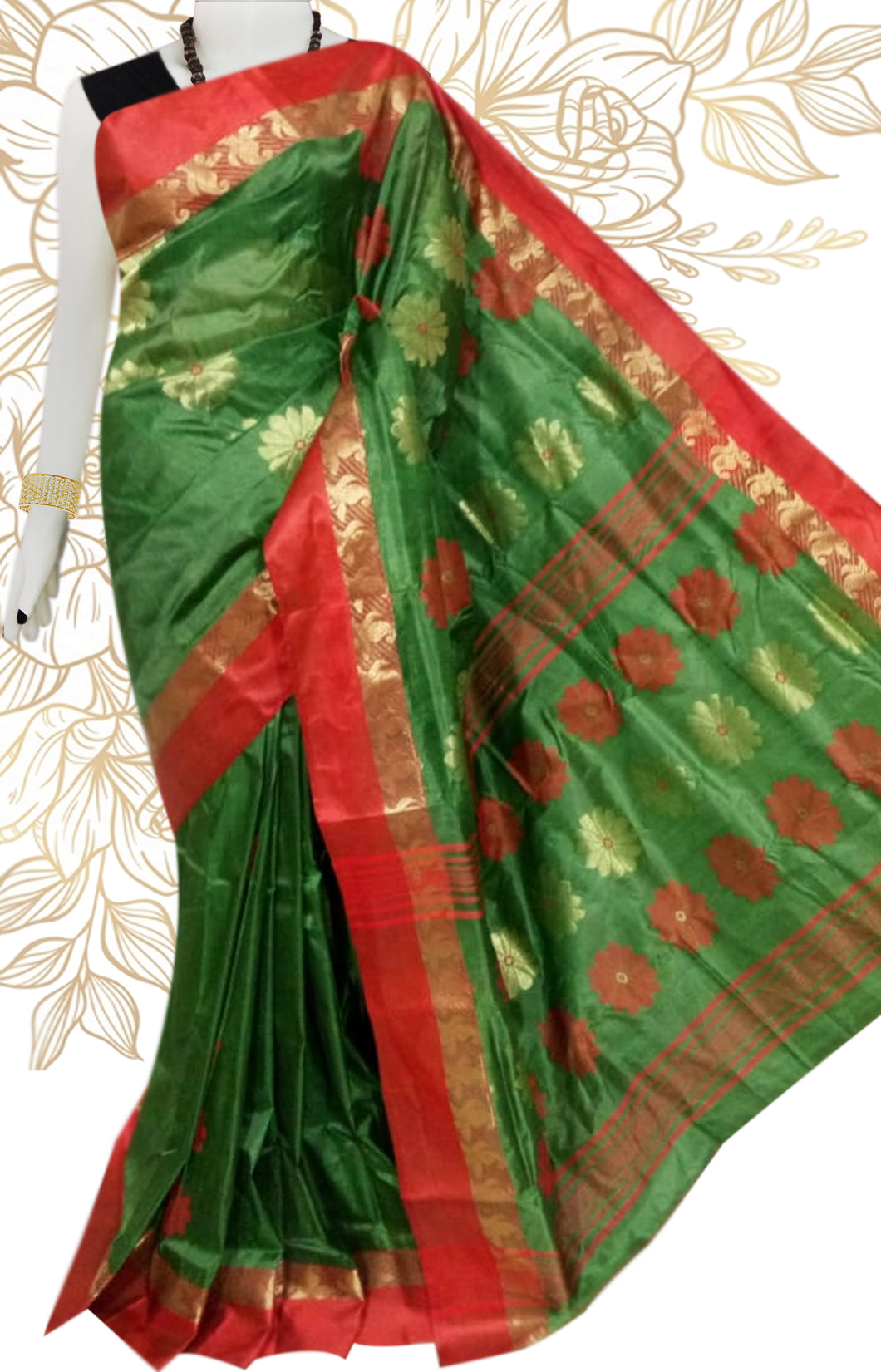 Lovely green & red color semi tussar silk saree with tussar silk threaded