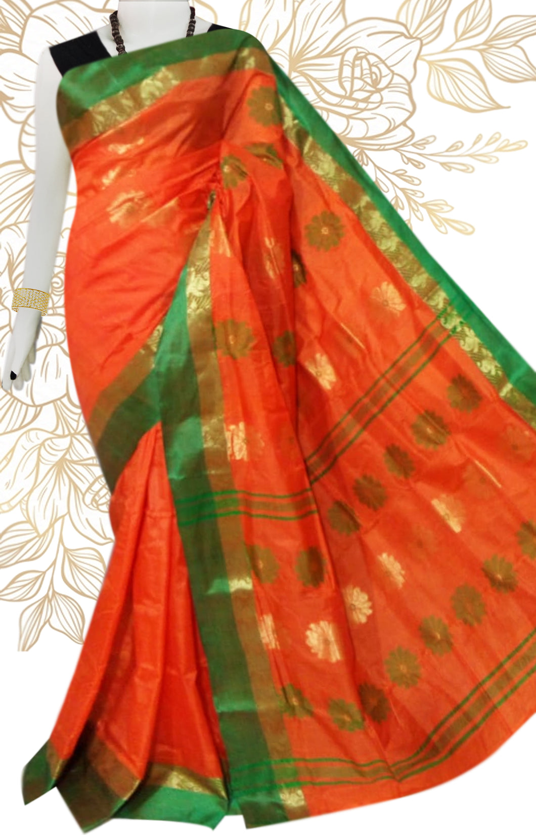 Lovely orange color semi tussar silk saree with tussar silk threaded