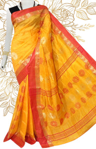 Lovely yellow color semi tussar silk saree with tussar silk threaded