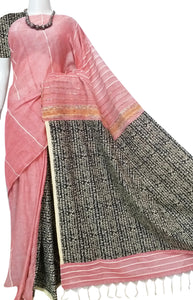 Salmon pink color mulmul cotton handloom khesh saree