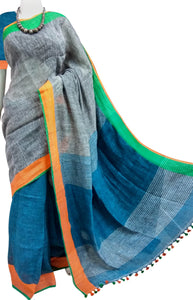 Multi Colour Cotton Linen Saree
