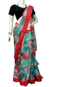 Beautiful linen silk saree beautified with digital printed work