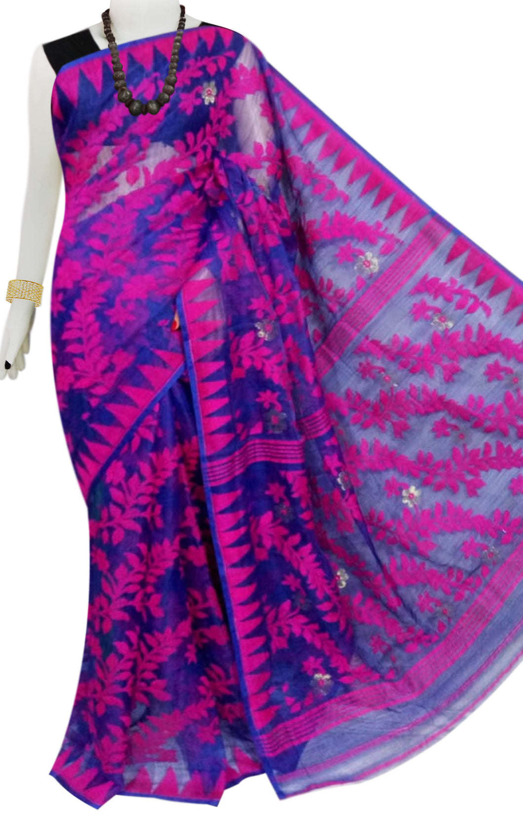 Pink And blue Color Cotton Dhakai Jamdani Saree With Jamdani Work