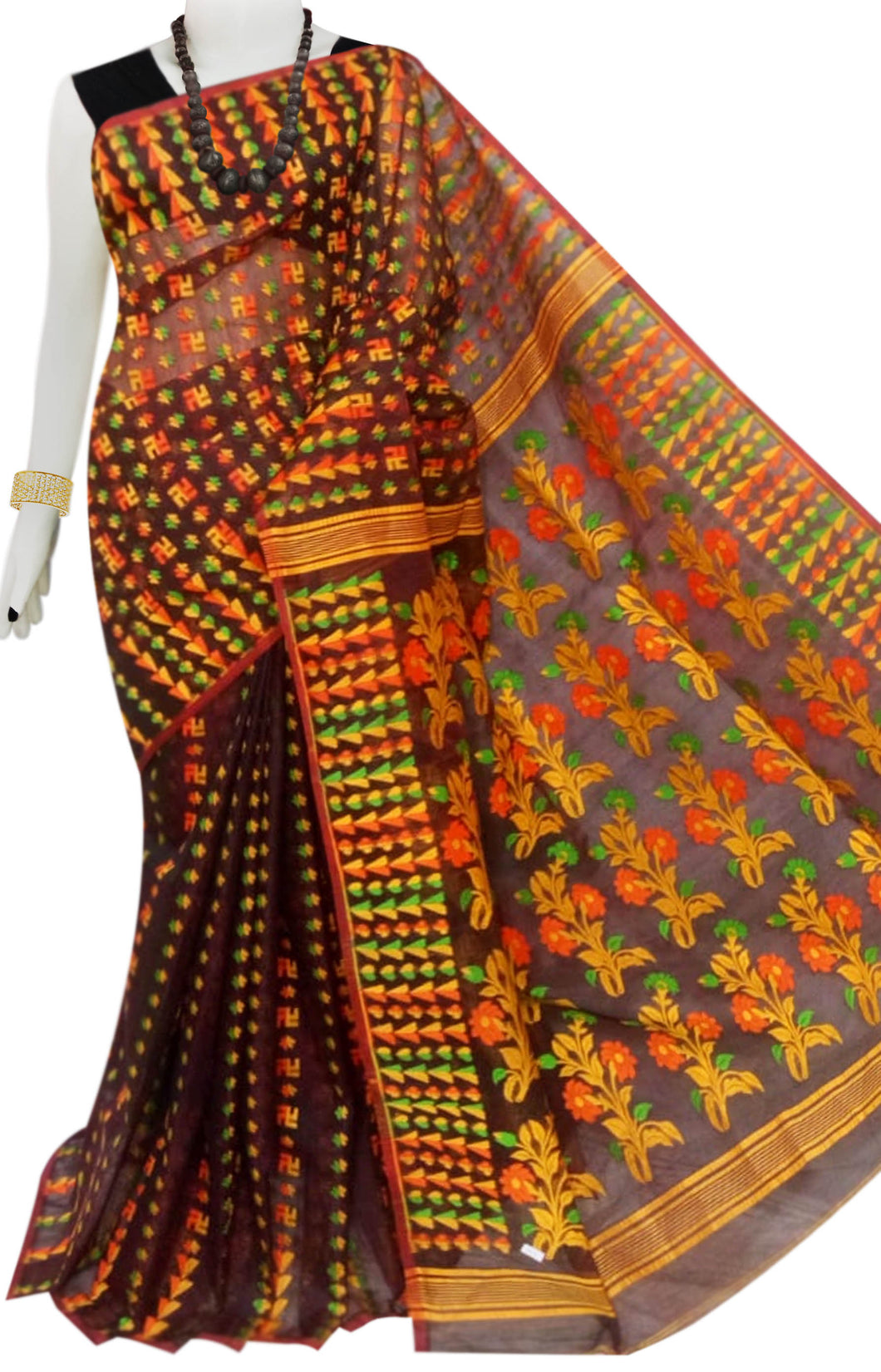 Black and Yellow Color Cotton Dhakai Jamdani Saree With Jamdani Work
