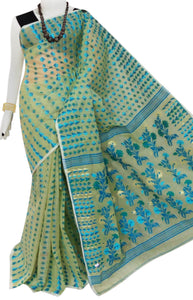Green color cotton dhakai Jamdani saree with jamdani work