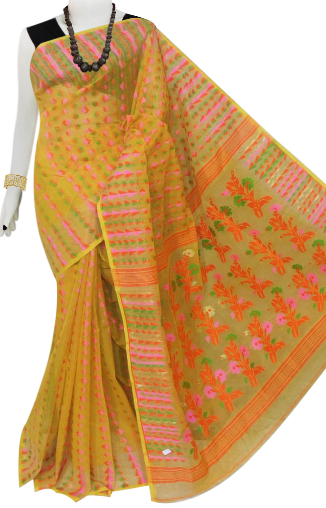 Yellow color cotton dhakai Jamdani saree with jamdani work