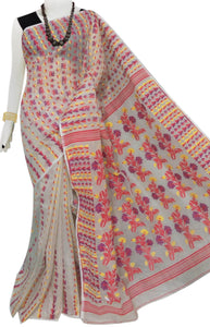 Pink and White color cotton dhakai Jamdani saree with jamdani work