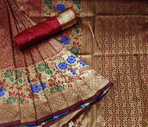 Banarasi silk meenkari weaving saree