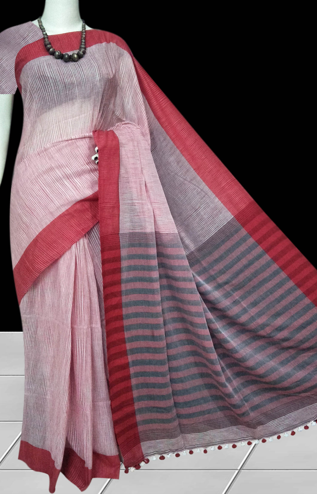 Exclusive Red Base Multicolored Mercerized Cotton Saree