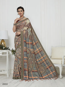 Multicolor Color Pashmina Silk Saree with beautiful print work