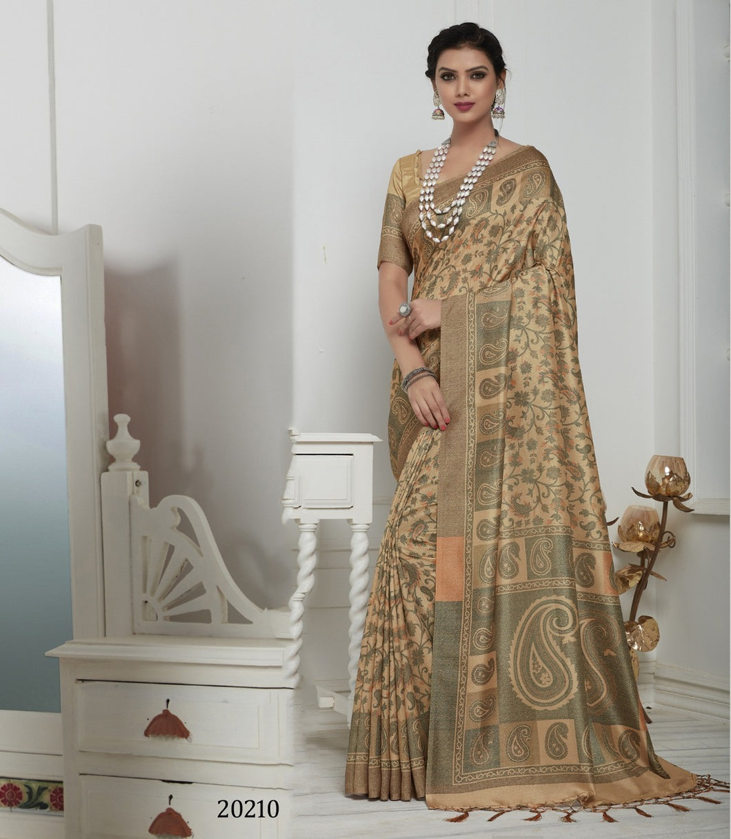 Dark Beige Color Pashmina Silk Saree with beautiful print work