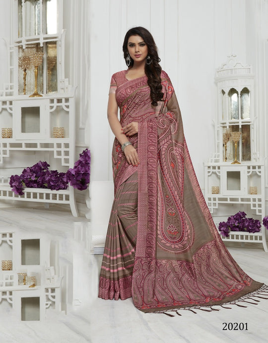 Pink Color Pashmina Silk Saree with beautiful print work