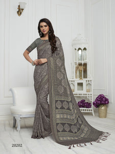 Grey Color Pashmina Silk Saree with beautiful print work