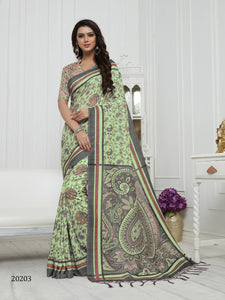 Pista Green Color Pashmina Silk Saree with beautiful print work