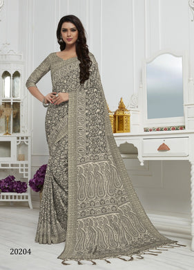 Silver Color Pashmina Silk Saree with beautiful print work
