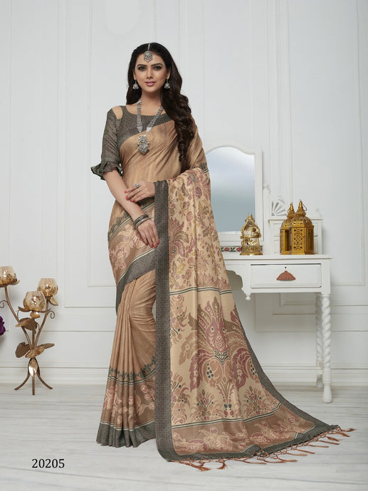 Biscuit Color Pashmina Silk Saree with beautiful print work