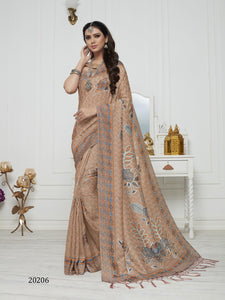 Beige Color Pashmina Silk Saree with beautiful print work