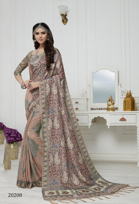 Peach, plum & Grey Color Pashmina Silk Saree with beautiful print work