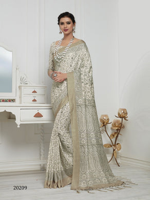 Pearl Color Pashmina Silk Saree with beautiful print work