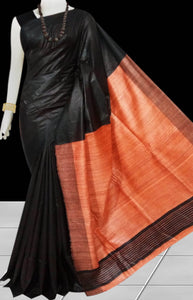 Black & Orange Tusser with staple silk saree