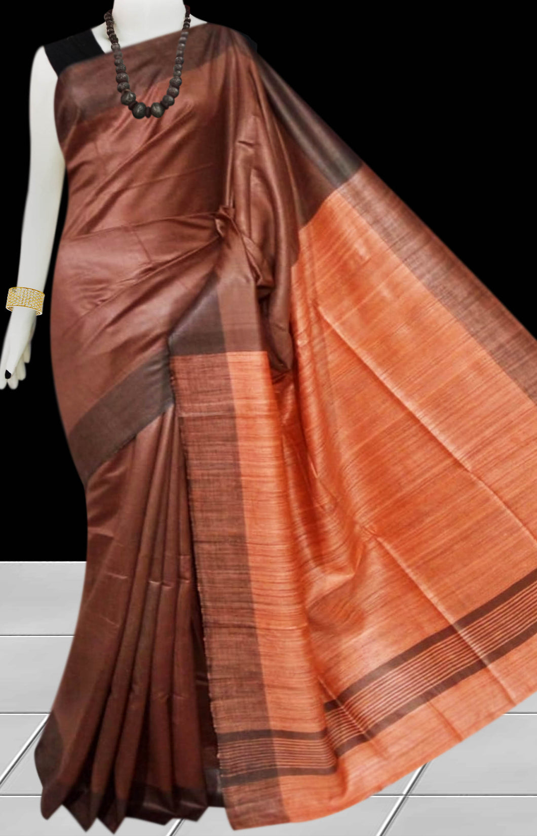 Brown & Orange Tusser with staple silk saree