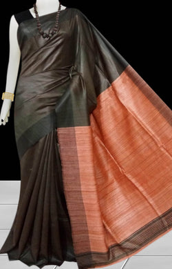 Dark Chocolate & Orange Tusser with staple silk saree