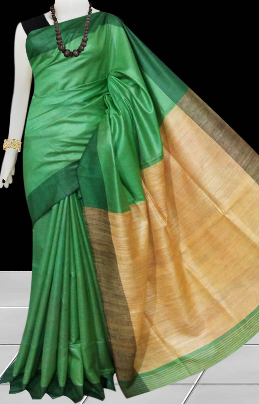 Green & Orange Tusser with staple silk saree