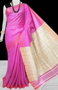 Pink & Beige Tusser with staple silk saree