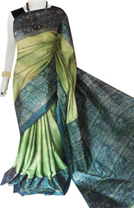 Green color base sonamukhi silk saree with block print work