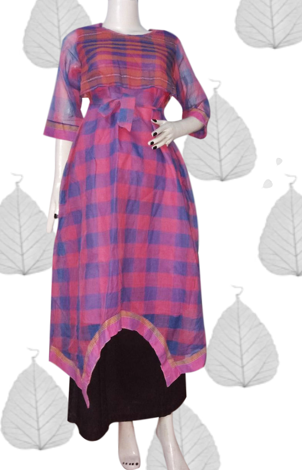 This baby pink cotton Kurti with blue checks