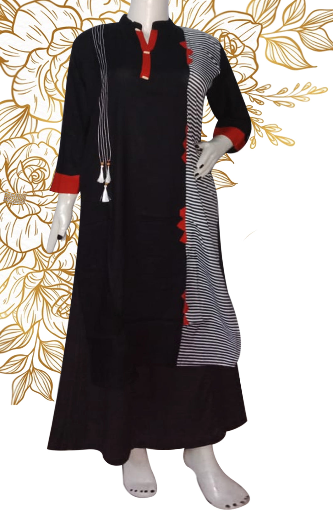 Black and Red  kurti with mandarin collar