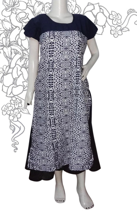 navy blue Kurti nylon fabric combined with white and blue kind of animal print