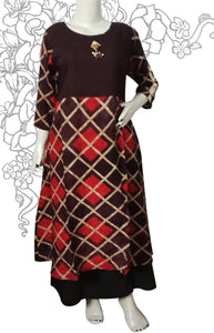 Brown with triangle crossed pattern with beige & red colour combination long Kurti
