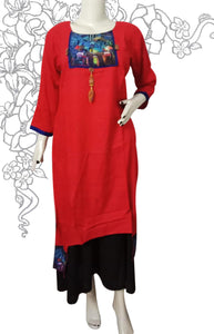 Coral red with combination royal blue kuri
