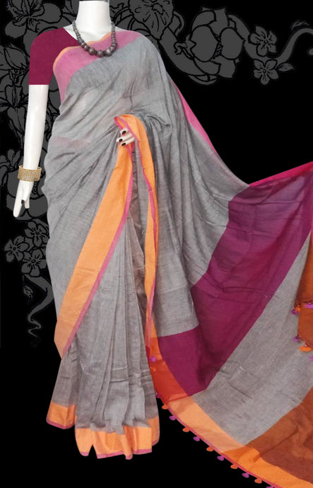 Grey pink and light orange color khadi saree