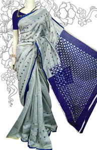 Grey and navy blue combination cotton saree