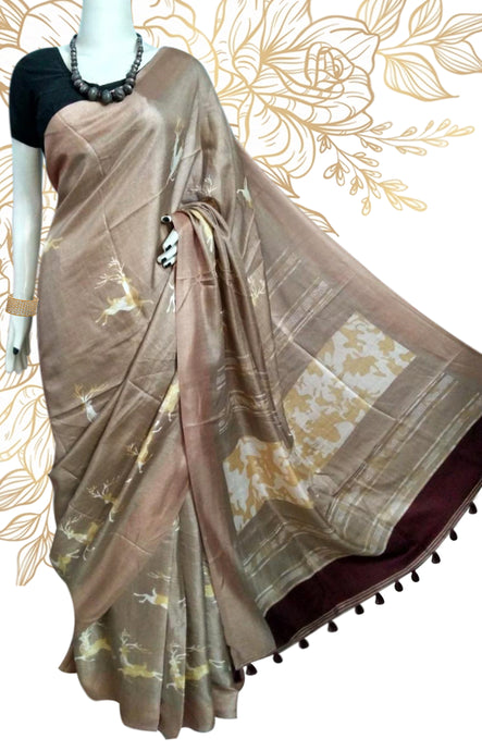 brown and pallu dark maroon linen silk saree