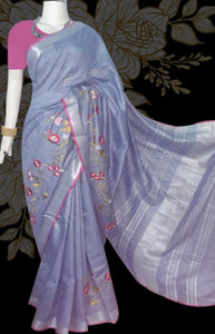 cornflower blue color silver and pink combination linen saree
