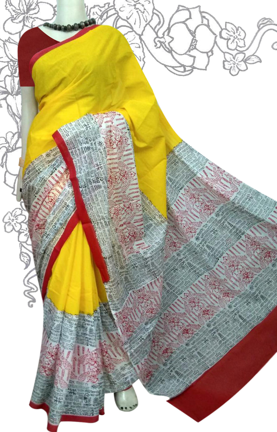 bright yellow and red combination cotton saree