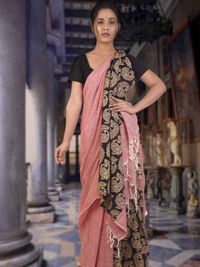 Stylish soft mulmul cotton khesh saree in baby pink with cotton block print design
